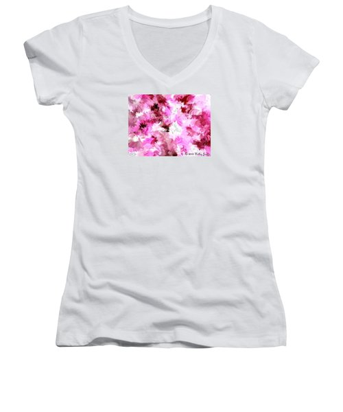 Women's V-Neck T-Shirt (Junior Cut) featuring the painting Chillin It by Holley Jacobs