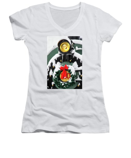 Christmas Train At Pacific Junction Women's V-Neck (Athletic Fit)