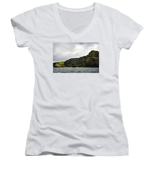 Women's V-Neck T-Shirt (Junior Cut) featuring the photograph Cliffs Of Moher From The Sea by RicardMN Photography