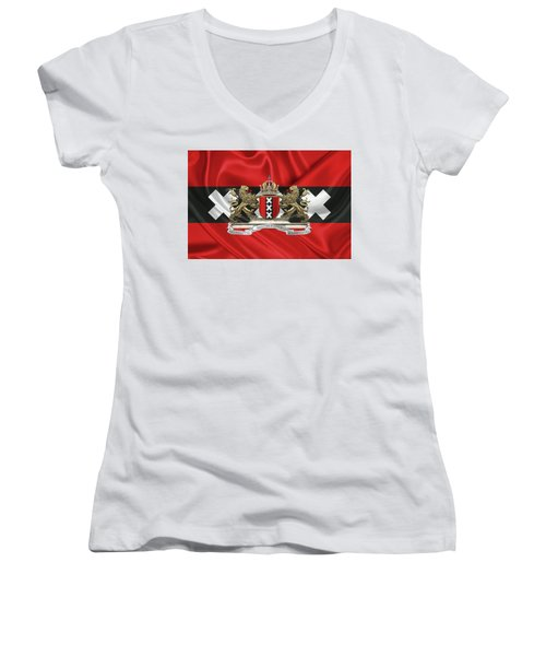 Coat Of Arms Of Amsterdam Over Flag Of Amsterdam Women's V-Neck T-Shirt