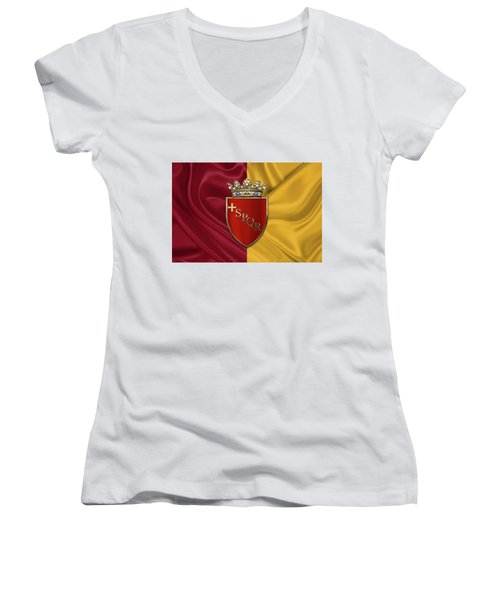 Coat Of Arms Of Rome Over Flag Of Rome Women's V-Neck