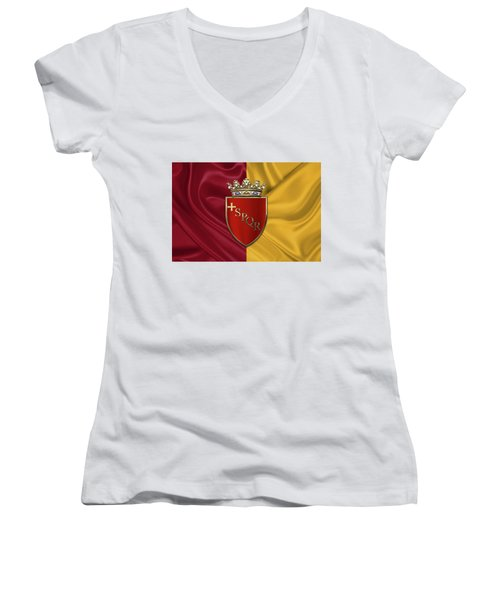 Coat Of Arms Of Rome Over Flag Of Rome Women's V-Neck T-Shirt