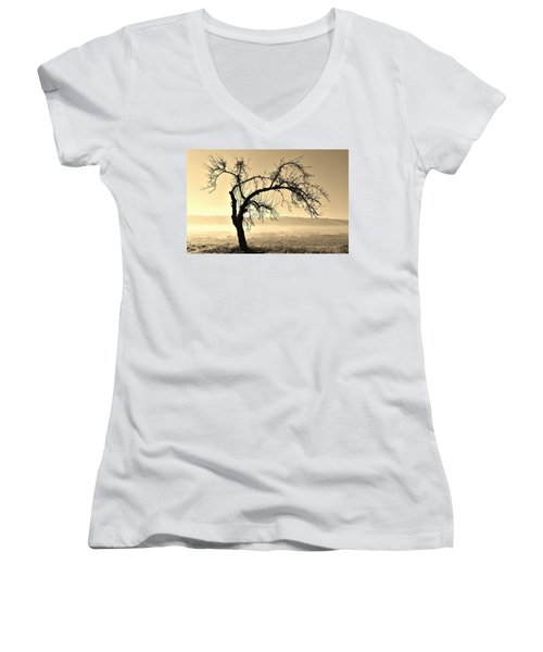 cold Winter day.... Women's V-Neck T-Shirt (Junior Cut) by Werner Lehmann