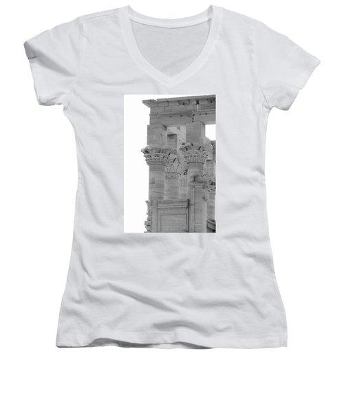 Columns Women's V-Neck T-Shirt (Junior Cut) by Silvia Bruno