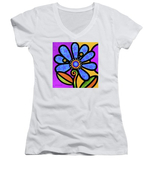 Cosmic Daisy In Blue Women's V-Neck