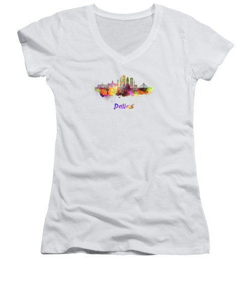 Dallas Skyline In Watercolor Women's V-Neck (Athletic Fit)