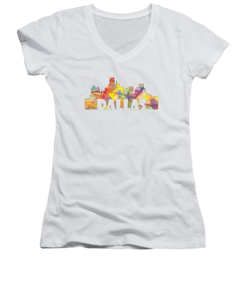 Dallas Texas Skyline Women's V-Neck (Athletic Fit)