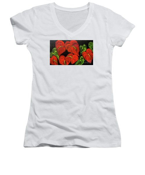 Dancing Anthuriums Women's V-Neck T-Shirt (Junior Cut)