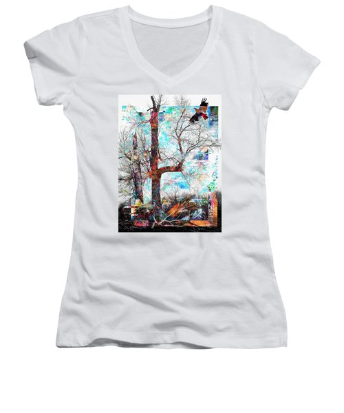 Dead Tree And Crow Women's V-Neck (Athletic Fit)