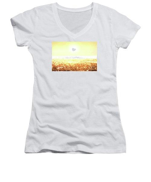 Rose Gold Diamonds Women's V-Neck T-Shirt (Junior Cut) by Michael Rock