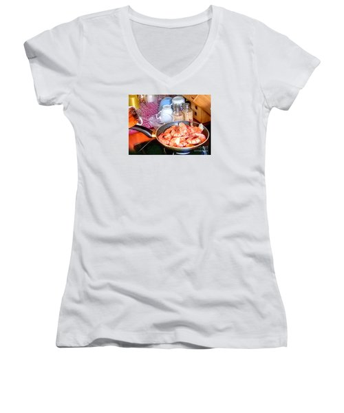 Dinner Women's V-Neck T-Shirt (Junior Cut) by Yury Bashkin