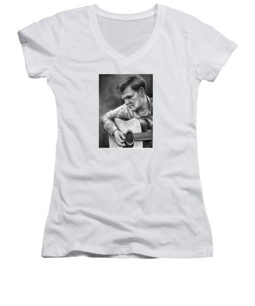 Doc Watson Women's V-Neck T-Shirt (Junior Cut) by Greg Joens