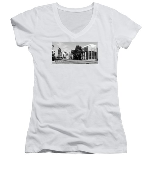 Downtown Huntington West Virginia Women's V-Neck T-Shirt (Junior Cut) by L O C