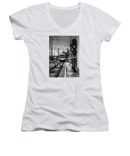 Electric Commuter Train In Bw Women's V-Neck