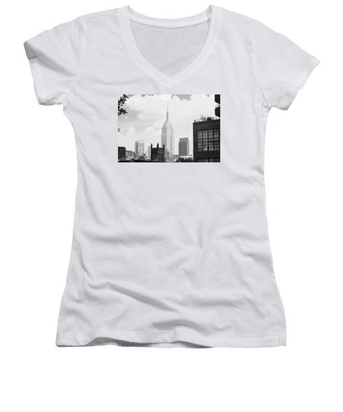 Empire State Building Women's V-Neck (Athletic Fit)