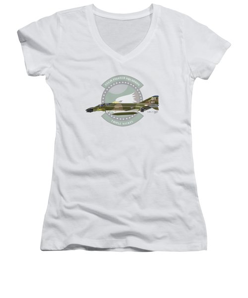F-4d Phantom Women's V-Neck T-Shirt (Junior Cut) by Arthur Eggers