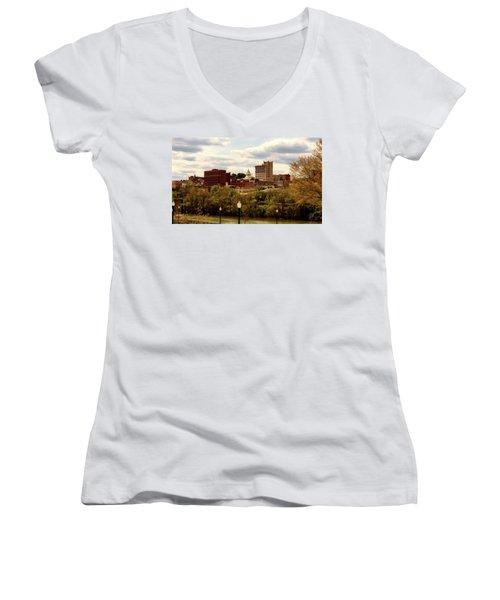Fairmont West Virginia Women's V-Neck T-Shirt (Junior Cut) by L O C
