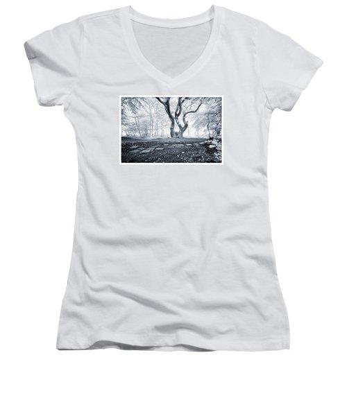 Fairy Tree Women's V-Neck T-Shirt (Junior Cut) by Keith Elliott