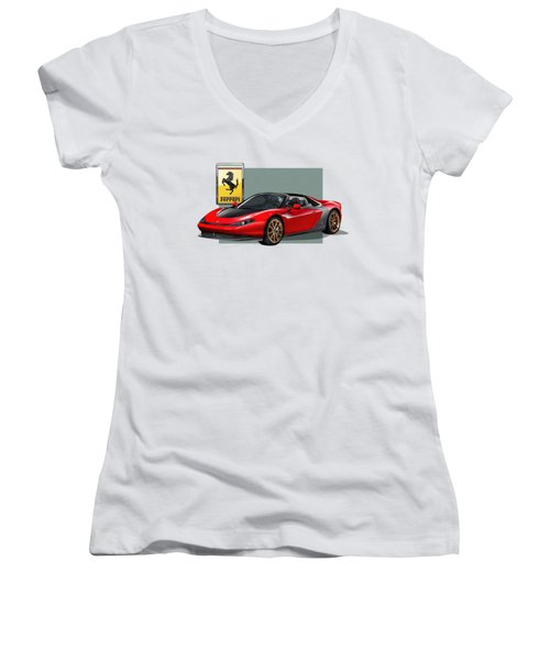 Ferrari Sergio With 3d Badge  Women's V-Neck (Athletic Fit)