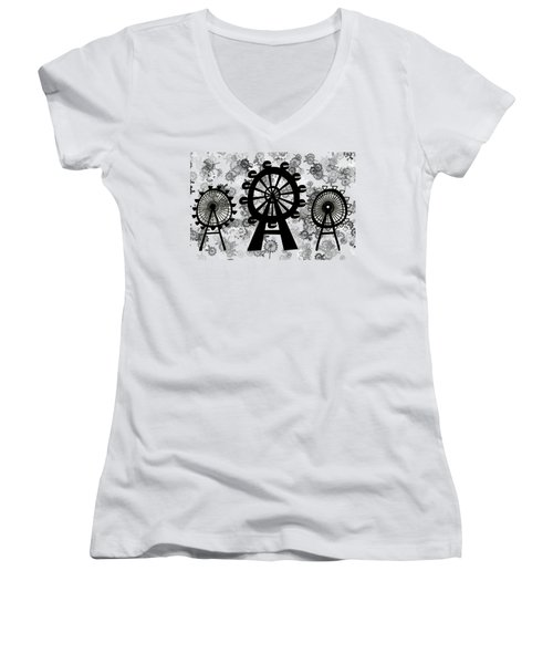 Ferris Wheel - London Eye Women's V-Neck T-Shirt (Junior Cut) by Michal Boubin