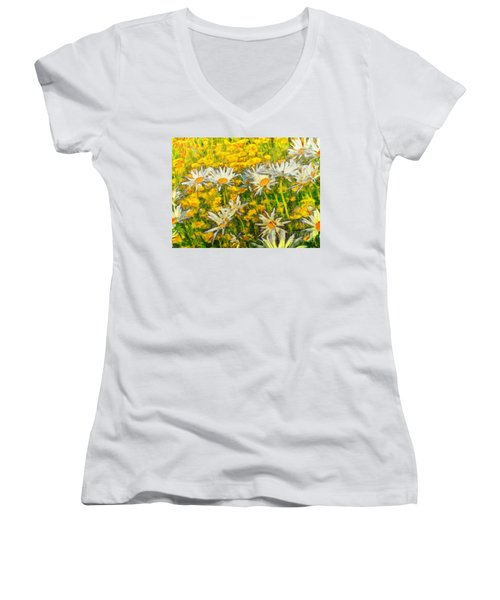 Field Of Daisies Women's V-Neck