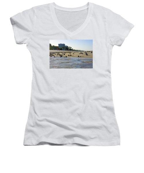 Fighting Conchs At Lowdermilk Park Beach In Naples, Fl Women's V-Neck