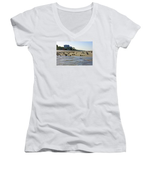 Fighting Conchs At Lowdermilk Park Beach In Naples, Fl Women's V-Neck (Athletic Fit)