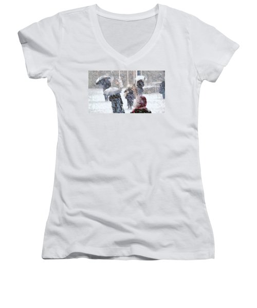 Women's V-Neck T-Shirt (Junior Cut) featuring the digital art First Snow by Gun Legler