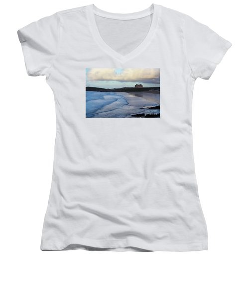 Fistral Beach Women's V-Neck T-Shirt (Junior Cut) by Nicholas Burningham