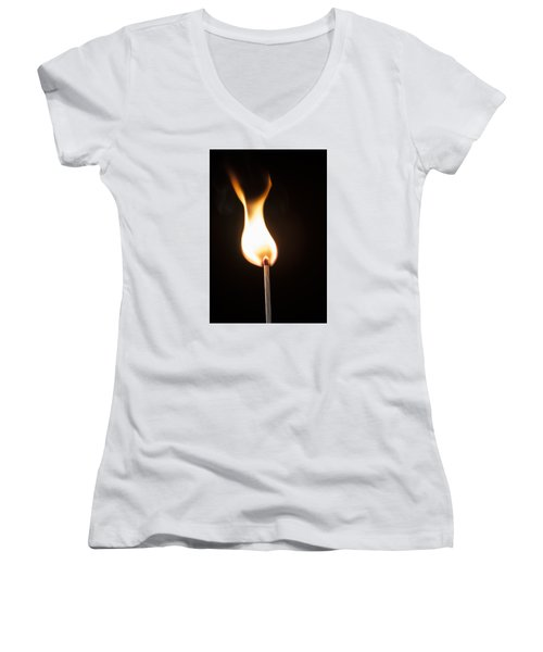 Women's V-Neck T-Shirt (Junior Cut) featuring the photograph Flame by Tyson and Kathy Smith