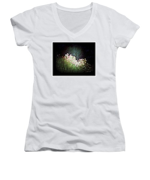 Flowers At Night Women's V-Neck T-Shirt