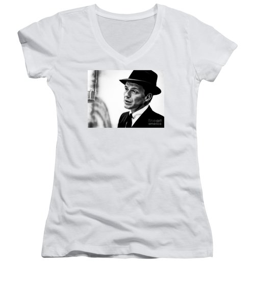 Frank Sinatra Collection Women's V-Neck T-Shirt (Junior Cut) by Marvin Blaine