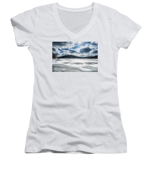 Frozen Lake Women's V-Neck T-Shirt (Junior Cut) by Thomas R Fletcher
