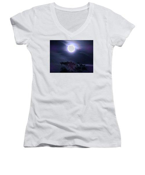 Full Moon Falling Women's V-Neck (Athletic Fit)