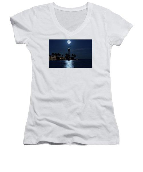 Full Moon Over Hillsboro Lighthouse In Pompano Beach Florida Women's V-Neck T-Shirt (Junior Cut) by Justin Kelefas