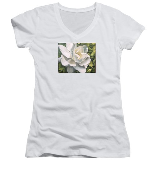 Women's V-Neck T-Shirt (Junior Cut) featuring the painting Gardenia by Natalia Tejera