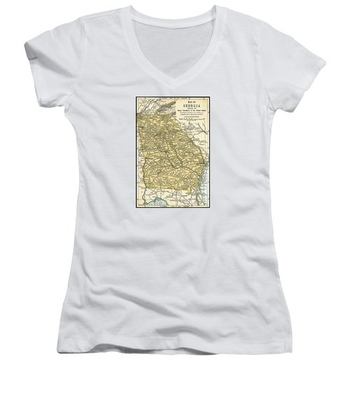 Georgia Antique Map 1891 Women's V-Neck (Athletic Fit)