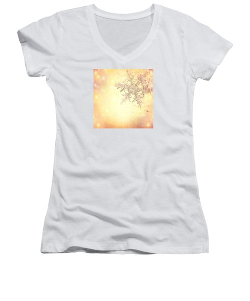 Golden Christmas Background Women's V-Neck T-Shirt