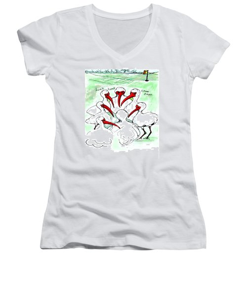 Gossiping Ibis Women's V-Neck T-Shirt (Junior Cut)