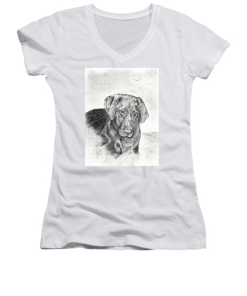 Women's V-Neck T-Shirt (Junior Cut) featuring the drawing Gozar by Mayhem Mediums