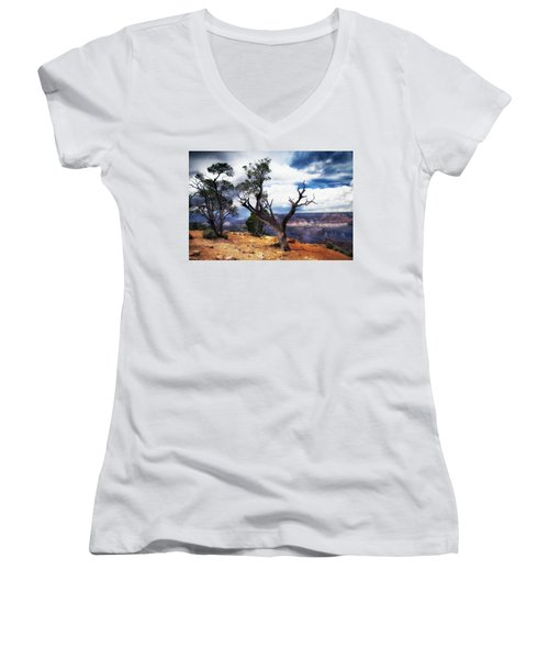 Grand Canyon Women's V-Neck T-Shirt (Junior Cut) by James Bethanis