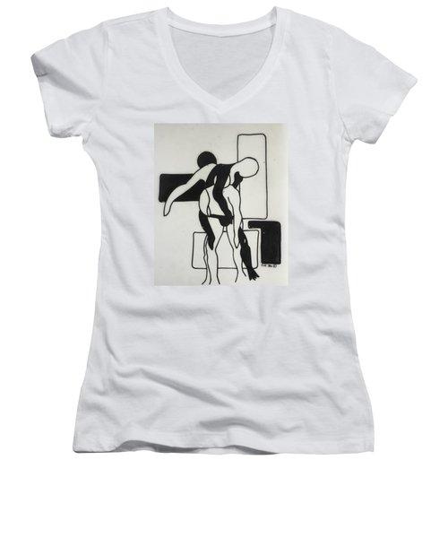 Gymnast Women's V-Neck T-Shirt (Junior Cut) by Erika Chamberlin