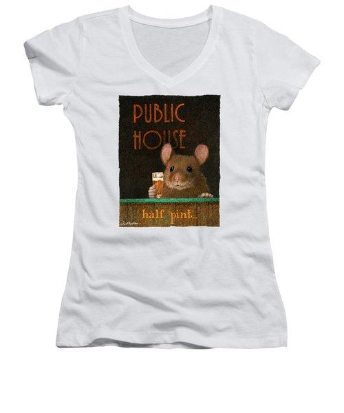 Half Pint... Women's V-Neck T-Shirt (Junior Cut) by Will Bullas