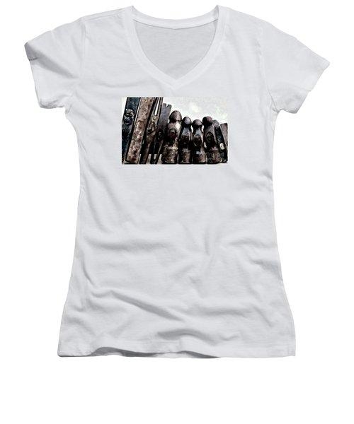 Women's V-Neck T-Shirt (Junior Cut) featuring the photograph Hammer Heads  by Wilma Birdwell