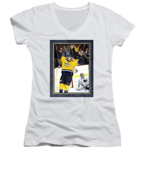 Women's V-Neck T-Shirt (Junior Cut) featuring the photograph He Shoots He Scores by Don Olea