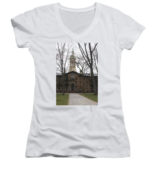 Women's V-Neck T-Shirt (Junior Cut) featuring the photograph Historic Princeton by Vadim Levin