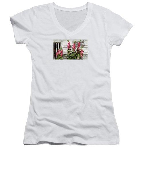 Hollyhocks Women's V-Neck T-Shirt (Junior Cut) by Bruce Morrison