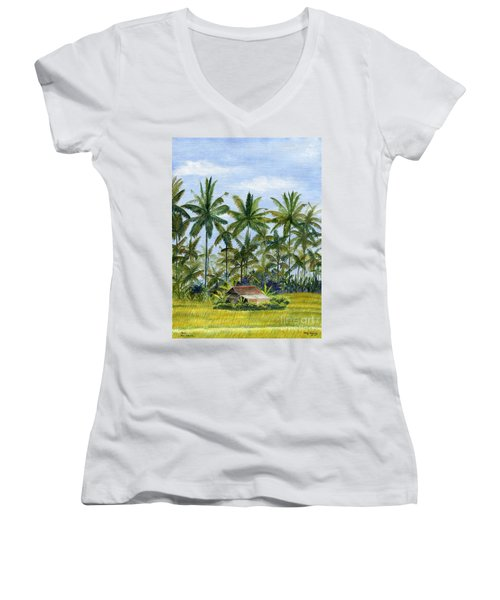 Women's V-Neck T-Shirt (Junior Cut) featuring the painting Home Bali Ubud Indonesia by Melly Terpening