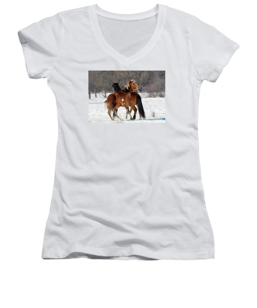 Women's V-Neck T-Shirt (Junior Cut) featuring the photograph Horseplay by Mike Dawson