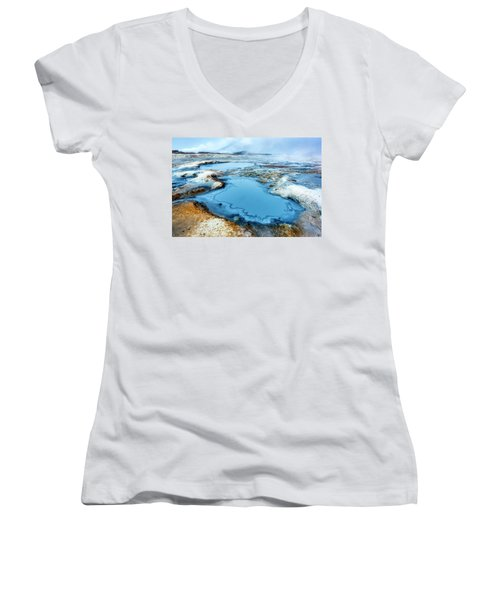 Hverir Steam Vents In Iceland Women's V-Neck T-Shirt